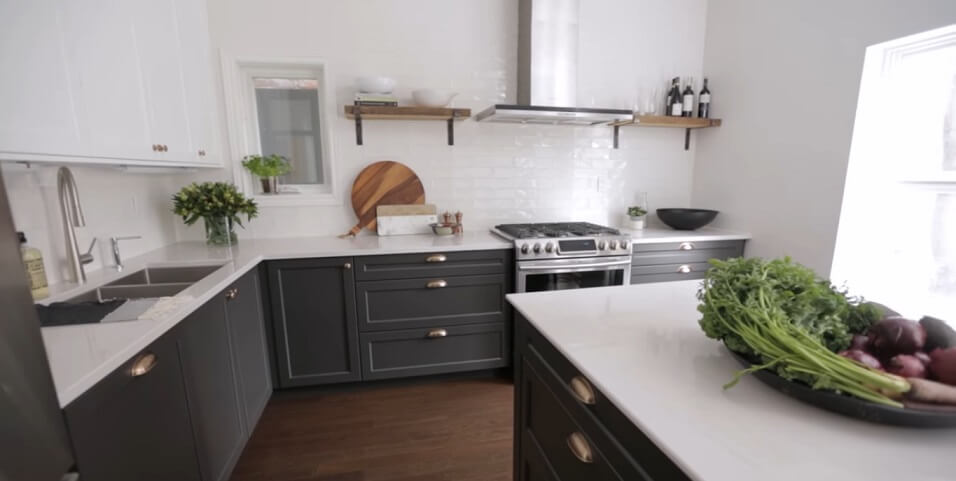 best Grayscale and White Cabinets with Black Accents